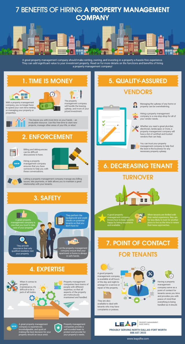 infograph of 7 Benefits of a Property Management Company resized
